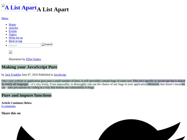 KJ - Making your JavaScript Pure · An A List Apart Article