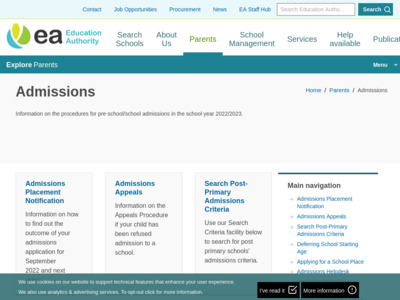 Education Authority Admissions Portal