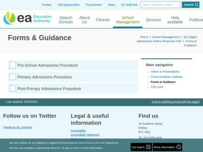 EA Digital Admissions Online Resource Hub - Admissions Service QAs now added