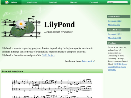 Screenshot of lilypond.org