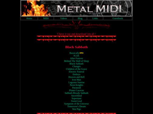 Screenshot of metal-midi.grahamdowney.com
