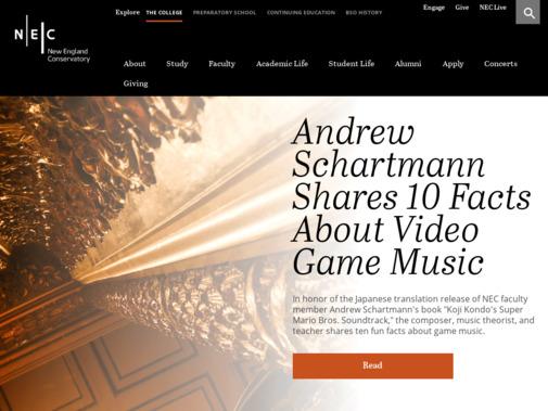 Screenshot of necmusic.edu