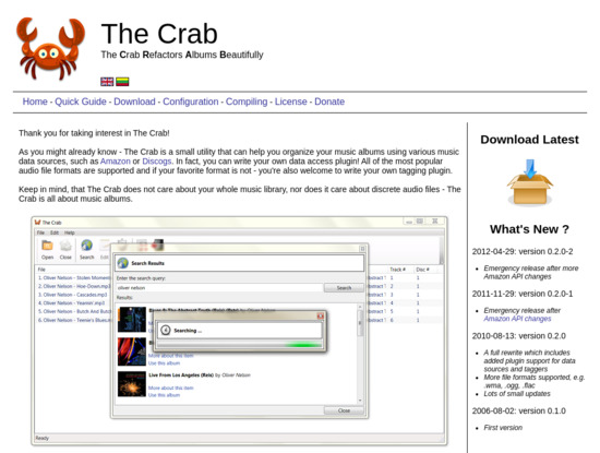 Screenshot of thecrab.sourceforge.net