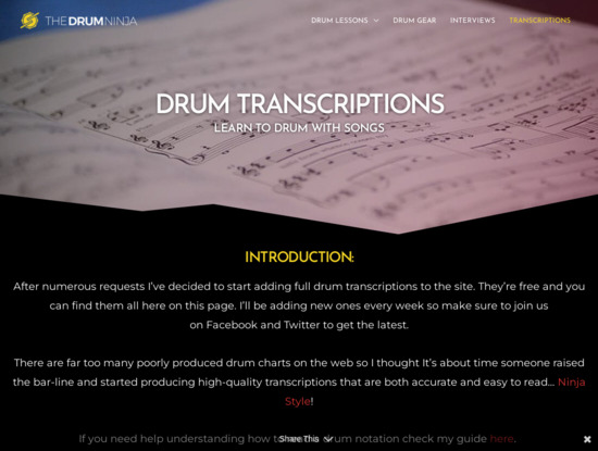 Screenshot of thedrumninja.com