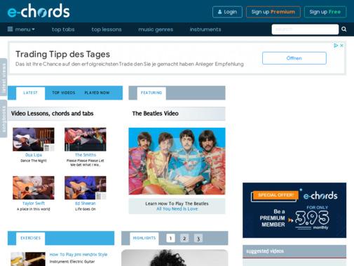 Screenshot of www.e-chords.com