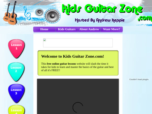Screenshot of www.kidsguitarzone.com