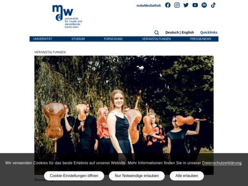 Screenshot of www.mdw.ac.at