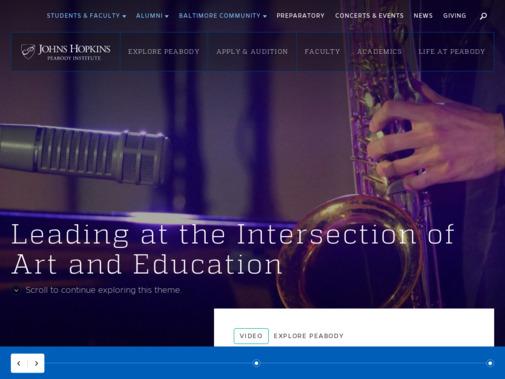 Screenshot of www.peabody.jhu.edu