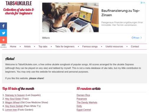 Screenshot of www.tabs4ukulele.com