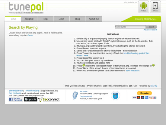 Screenshot of www.tunepal.org