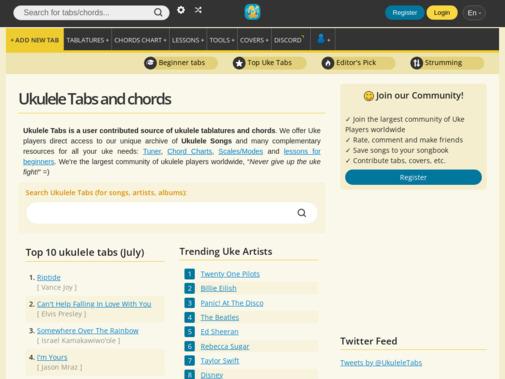 Screenshot of www.ukulele-tabs.com