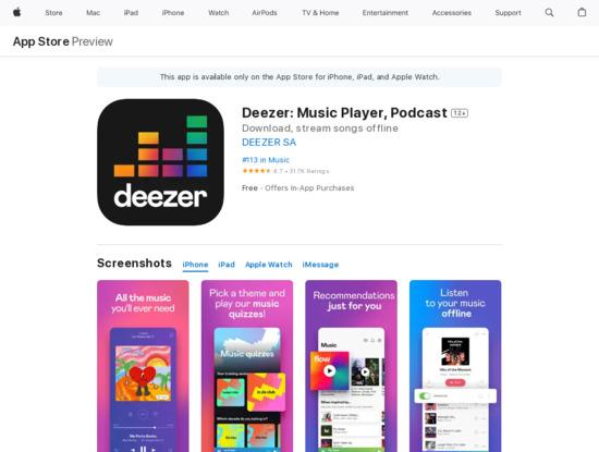Screenshot of apps.apple.com