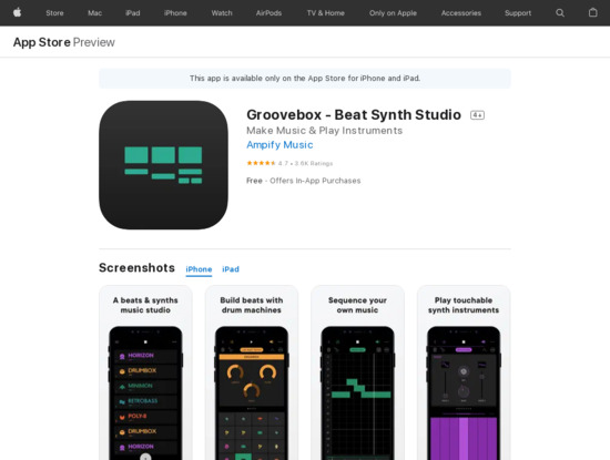 Screenshot of apps.apple.com