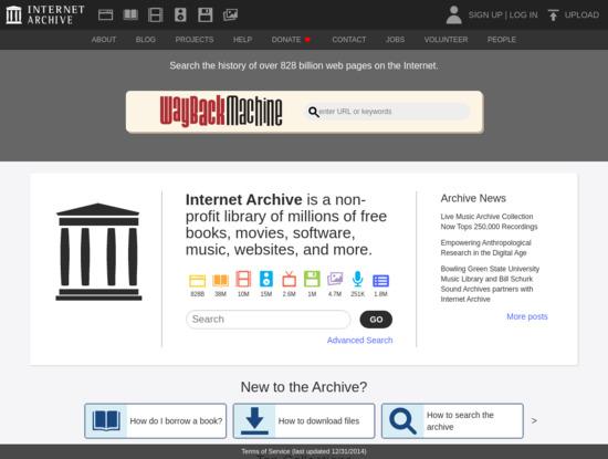 Screenshot of archive.org