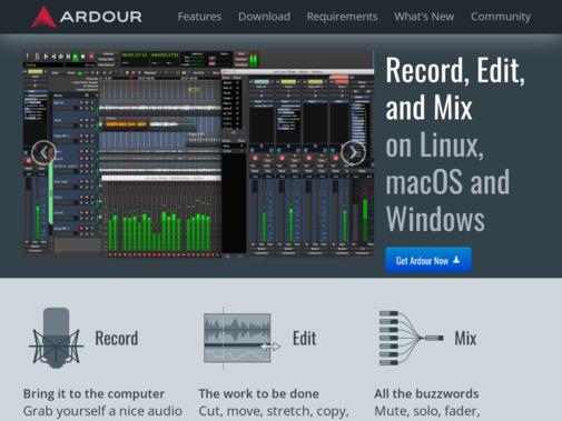Screenshot of ardour.org