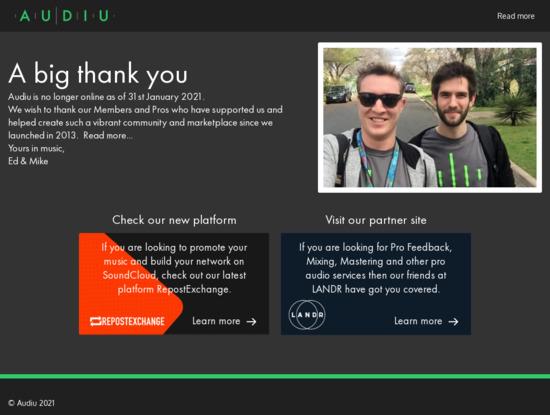 Screenshot of audiu.net