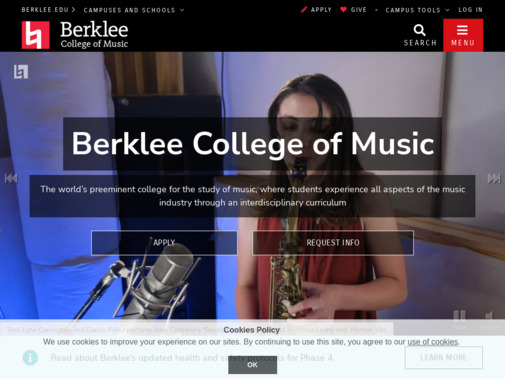 Screenshot of college.berklee.edu