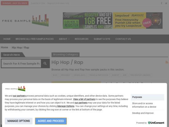 Screenshot of free-sample-packs.com