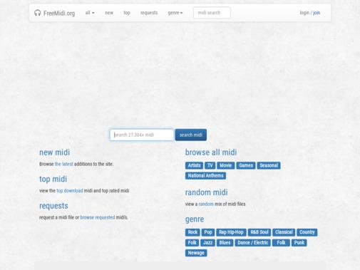 Screenshot of freemidi.org