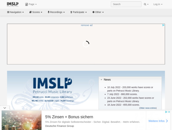 Screenshot of imslp.org