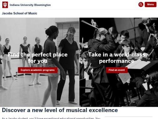 Screenshot of music.indiana.edu