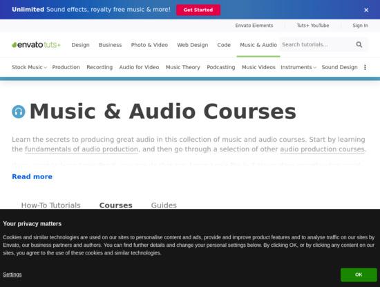 Screenshot of music.tutsplus.com