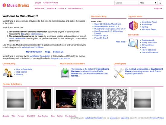 Screenshot of musicbrainz.org