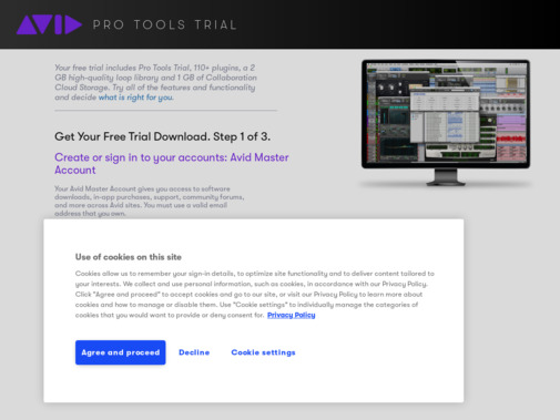 Screenshot of my.avid.com