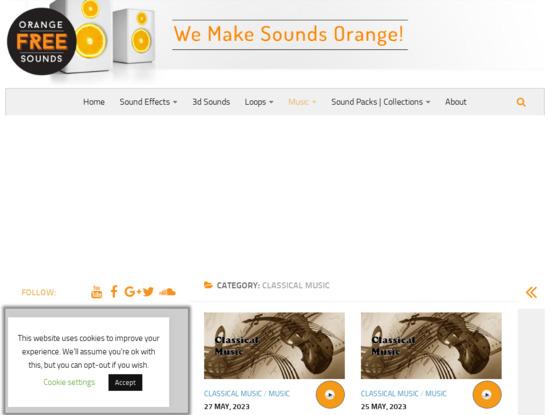 Screenshot of orangefreesounds.com