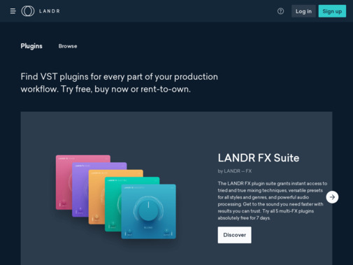 Screenshot of plugins.landr.com