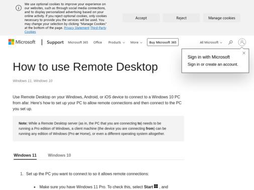 Screenshot of support.microsoft.com