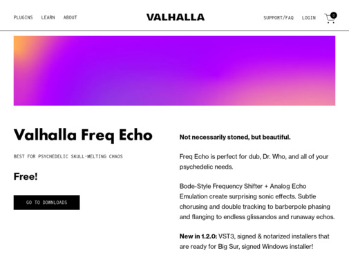 Screenshot of valhalladsp.com