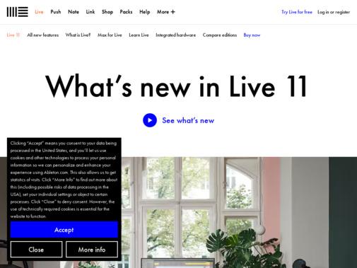 Screenshot of www.ableton.com