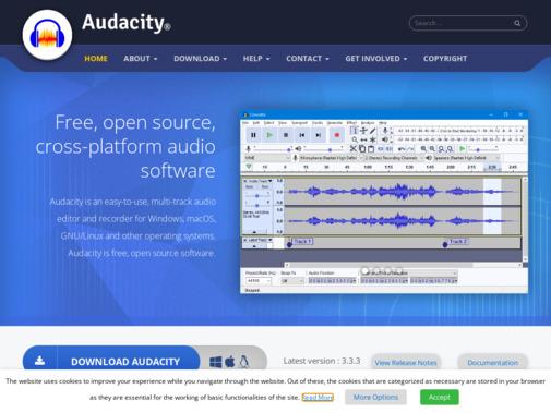 Screenshot of www.audacityteam.org