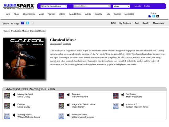 Screenshot of www.audiosparx.com