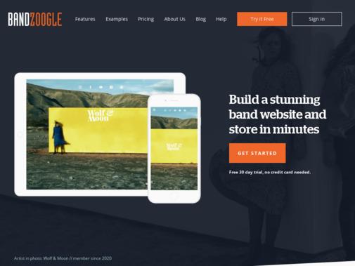 Screenshot of www.bandzoogle.com