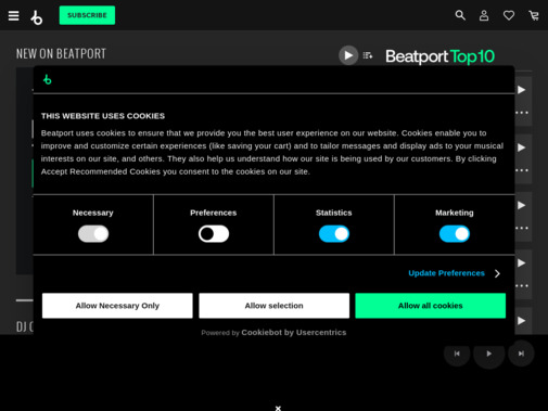 Screenshot of www.beatport.com