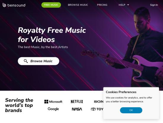 Screenshot of www.bensound.com