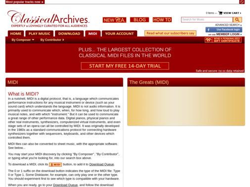 Screenshot of www.classicalarchives.com