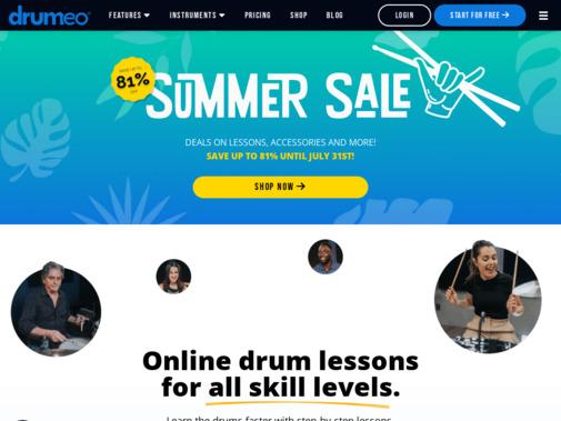 Screenshot of www.drumeo.com
