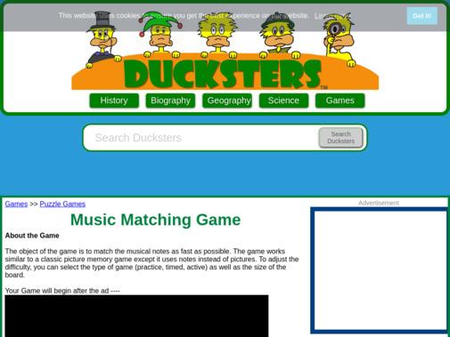 Screenshot of www.ducksters.com