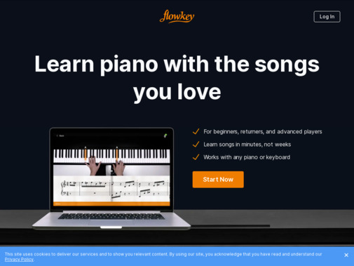 Screenshot of www.flowkey.com