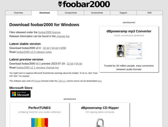 Screenshot of www.foobar2000.org