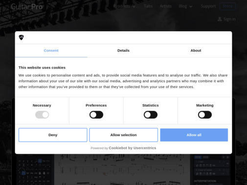 Screenshot of www.guitar-pro.com