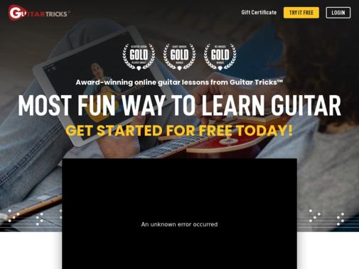 Screenshot of www.guitartricks.com