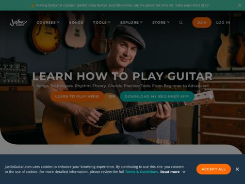 Screenshot of www.justinguitar.com