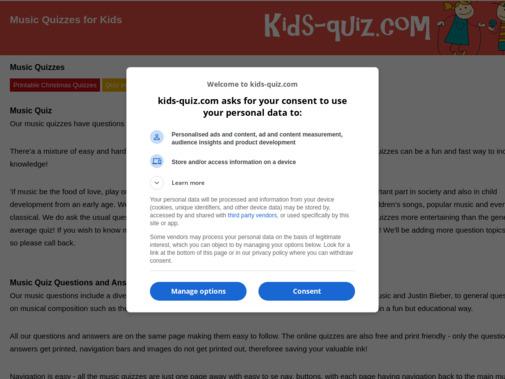 Screenshot of www.kids-quiz.com