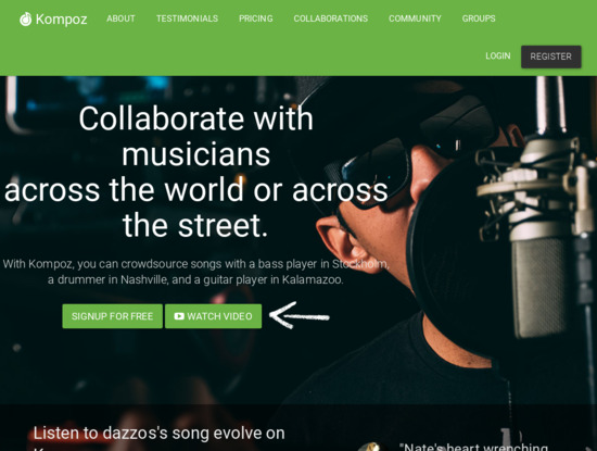 Screenshot of www.kompoz.com