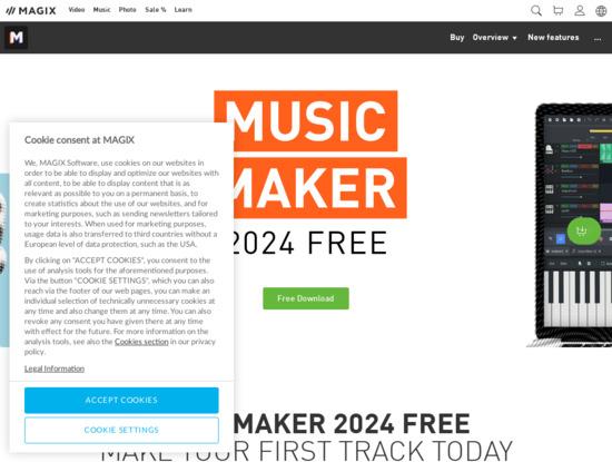 Screenshot of www.magix.com