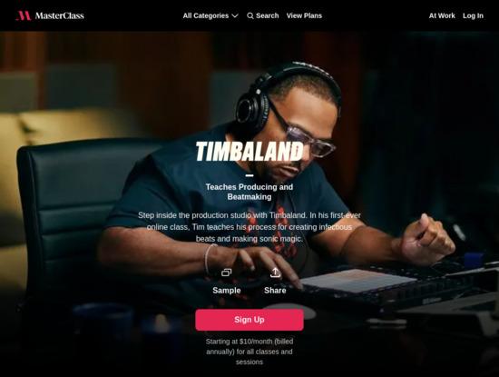 Screenshot of www.masterclass.com